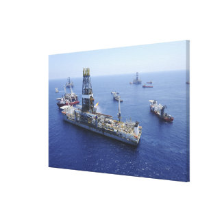 Flaring operations conducted by the drillship canvas print