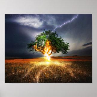 flash-845848 FANTASY LIGHTNING STRIKE TREE BACKGRO Poster