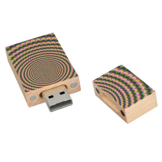 Flash Drive  Brain-Buster in Blue Green and Pink Wood USB 2.0 Flash Drive