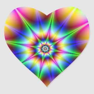 Flash Holograph Optical Illusion Rainbow Disco Heart Sticker