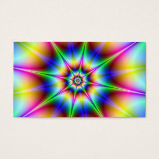 Flash Hypnotic Optical Illusion Rainbow Star Disco Business Card