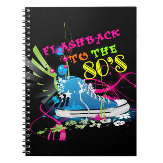 Flashback To The 80 s Neon Sneaker Spiral Notebook