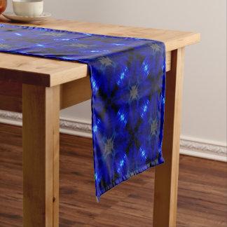 Flashy blue tiles short table runner