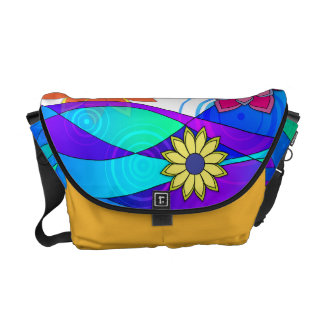 Flashy Flowers & Waves Messenger Bag