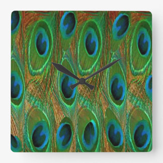 Flashy Peacock Square Wall Clock