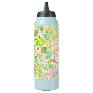 Flask 0.5L Teal Natural Green Art Design Insulated Water Bottle