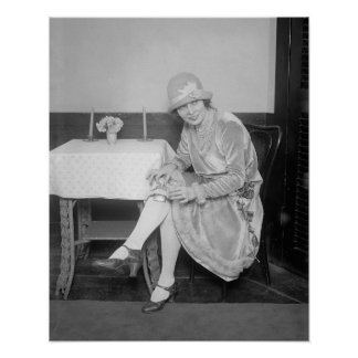 Flask Hidden in Garter, 1926. Vintage Photo Poster