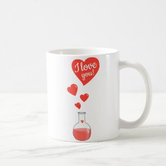 Flask of Hearts Geek I Love You Valentines Day Classic White Coffee Mug