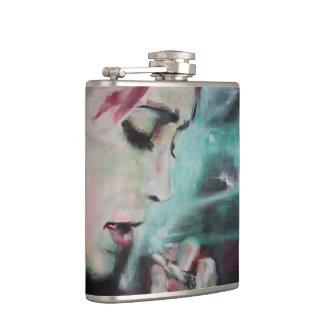 Flask smoke, woman with cigarette