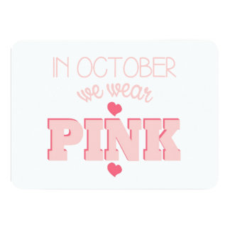 Flat Breast Cancer Awareness Card Custom Invites