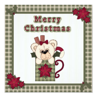 Flat Christmas Card Teddy Bear in a Cup with Plaid 13 Cm X 13 Cm Square Invitation Card