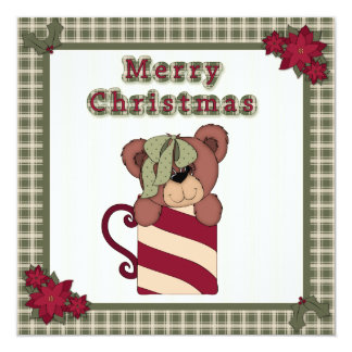 Flat Christmas Card Teddy Bear in a Mug with Plaid 13 Cm X 13 Cm Square Invitation Card