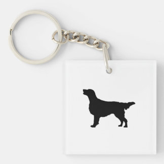 Flat Coated Retreiver Hunting dog Silhouette Double-Sided Square Acrylic Key Ring