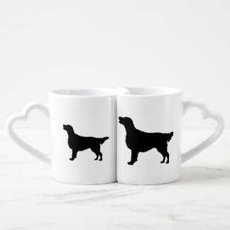 Flat Coated Retreiver Hunting dog Silhouette Lovers Mug Set
