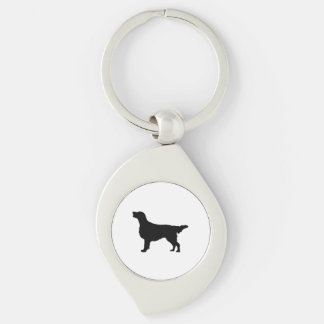 Flat Coated Retreiver Hunting dog Silhouette Silver-Colored Swirl Key Ring