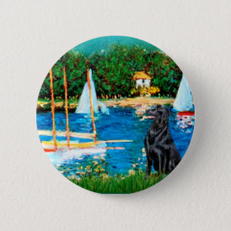 Flat Coated Retriever 1 - Sailboats 6 Cm Round Badge