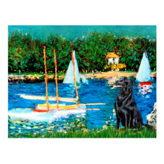 Flat Coated Retriever 1 - Sailboats Post Cards