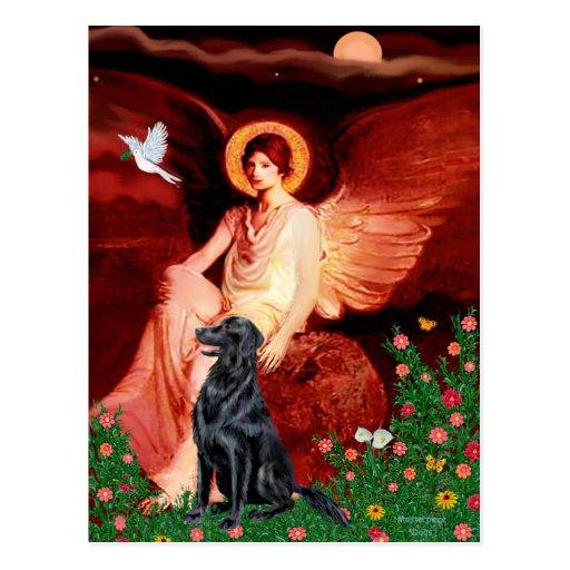 Flat Coated Retriever 1 - Seated Angel Post Card