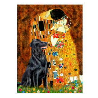 Flat Coated Retriever 1 - The Kiss Postcard