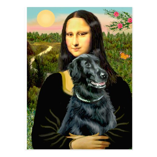 Flat Coated Retriever 2 - Mona Lisa Post Cards