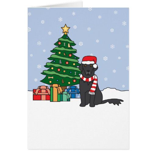 Flat-Coated Retriever and Christmas Tree Greeting Cards