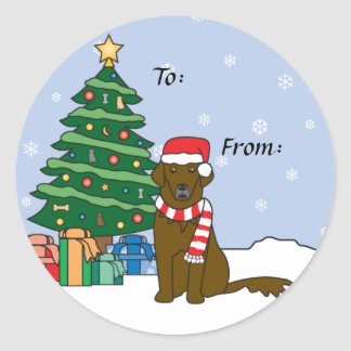 Flat-Coated Retriever and Christmas Tree Classic Round Sticker