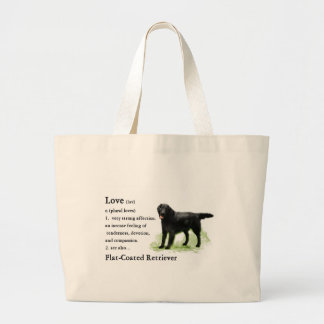 Flat-Coated Retriever Art Print Large Tote Bag