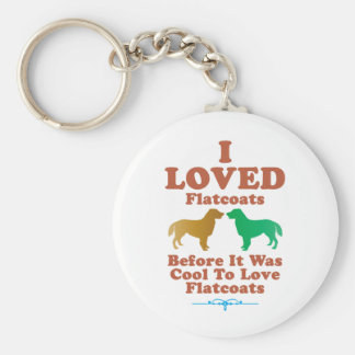Flat-Coated Retriever Basic Round Button Key Ring