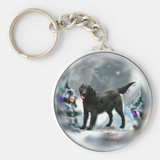 Flat-Coated Retriever Christmas Gifts Key Ring