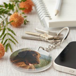 Flat Coated Retriever dog beautiful photo Double-Sided Round Acrylic Key Ring