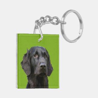 Flat Coated Retriever dog, black beautiful photo Double-Sided Square Acrylic Key Ring
