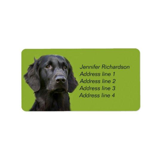 Flat Coated Retriever dog, black custom Address Label