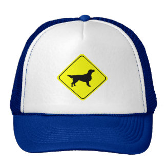 Flat Coated Retriever Dog Silhouette Crossing Sign Cap