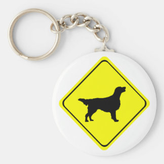 Flat Coated Retriever Dog Silhouette Crossing Sign Basic Round Button Key Ring