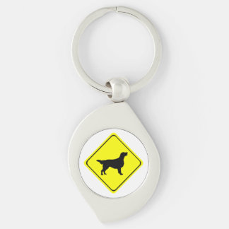 Flat Coated Retriever Dog Silhouette Crossing Sign Silver-Colored Swirl Key Ring