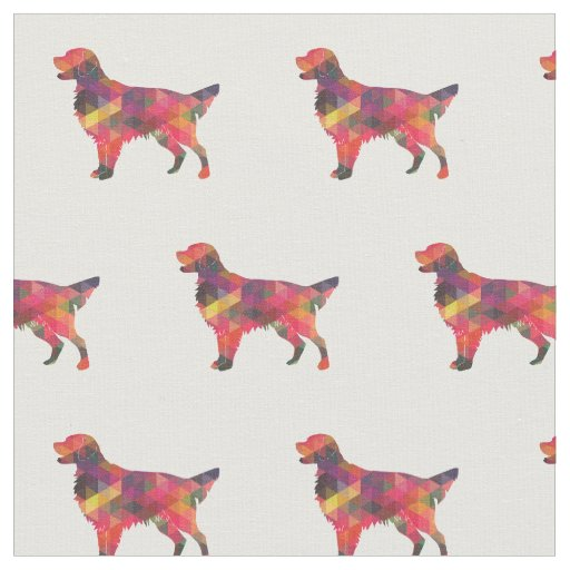 Flat-Coated Retriever Dog Silhouette Tiled - Multi Fabric