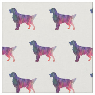 Flat-Coated Retriever Dog Silhouette Tiled - Pink Fabric