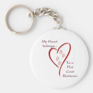 Flat-Coated Retriever Heart Belongs Keychains