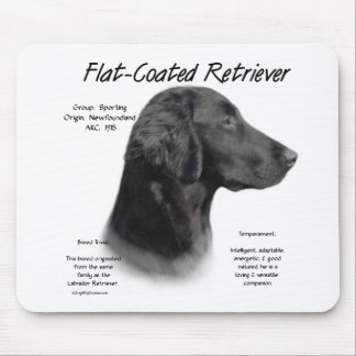 Flat-Coated Retriever History Design Mouse Pad