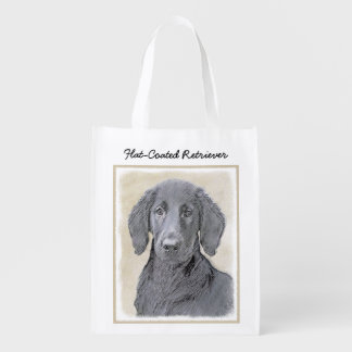 Flat-Coated Retriever Painting - Cute Original Dog Reusable Grocery Bag