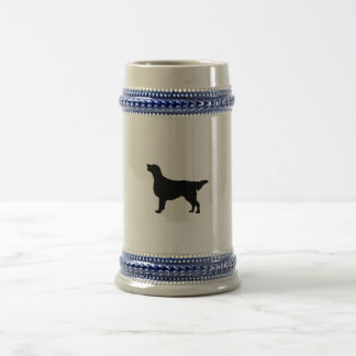 Flat-Coated Retriever Silhouette Love Dogs Beer Stein
