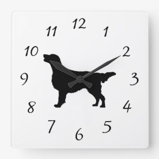 Flat-Coated Retriever Silhouette Love Dogs Wallclocks
