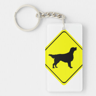 Flat-Coated Retriever Warning Sign Love Dogs Key Ring
