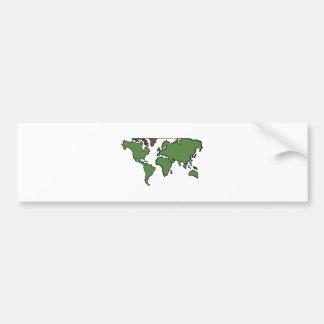 Flat Continents Map Bumper Sticker