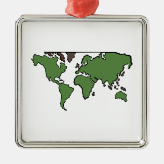 Flat Continents Map Christmas Tree Ornament