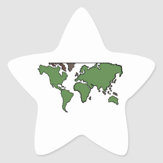 Flat Continents Map Star Sticker