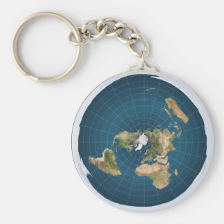 Flat Earth AEi Azimuthal Equidistant Map Key Chain