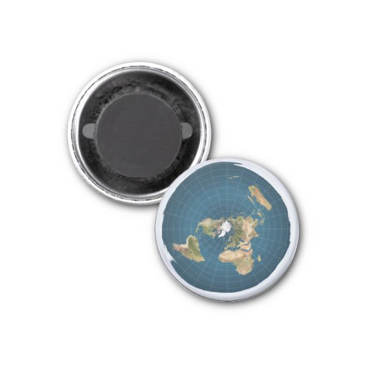 Flat Earth Azimuthal AE Map Round Fridge Magnet