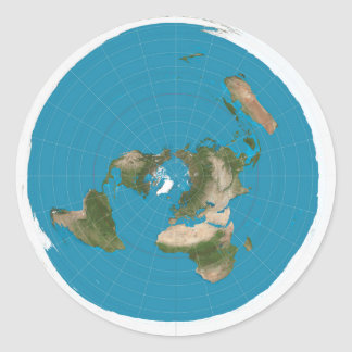 Flat Earth Azimuthal Equidistant AE Map Stickers