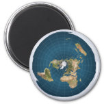 Flat Earth Azimuthal Equidistant Blue Map Magnet
